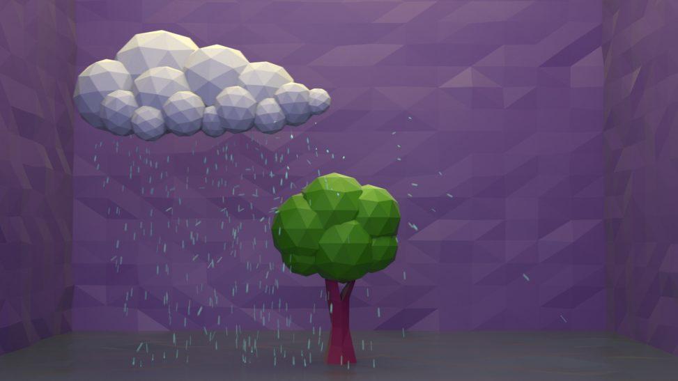 3d low poly animation rain particles